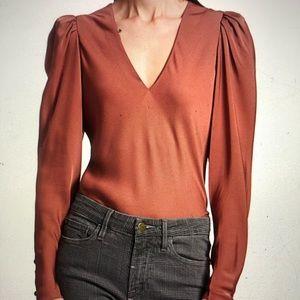 Frame Shirred Puff Sleeve Silk Blouse